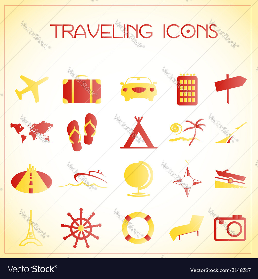 Traveling icons vector | Price: 1 Credit (USD $1)
