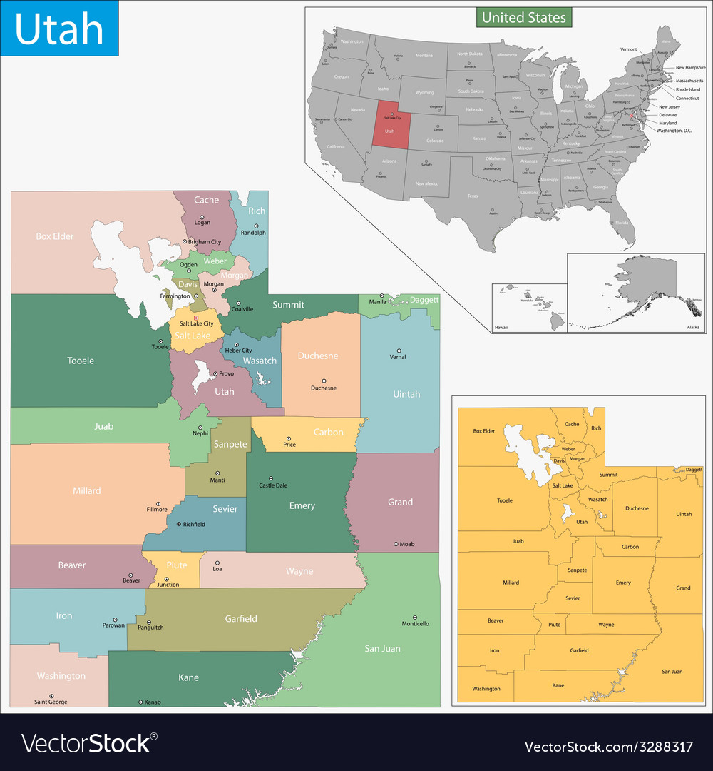 Utah map vector | Price: 1 Credit (USD $1)