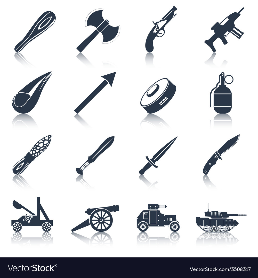Weapon icons black set vector | Price: 1 Credit (USD $1)