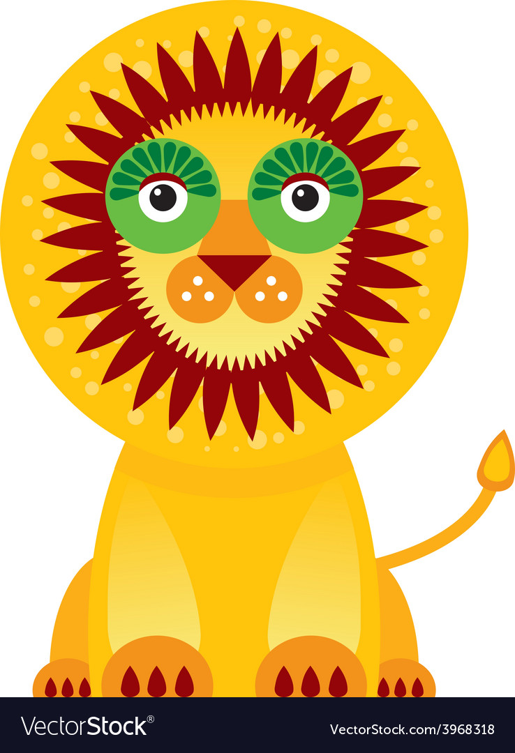 Big lion in white background vector | Price: 1 Credit (USD $1)