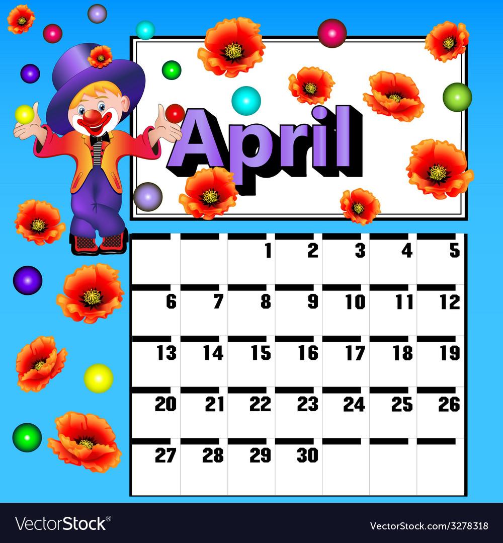 Calendar for april clown vector   Price: 1 Credit (USD $1)