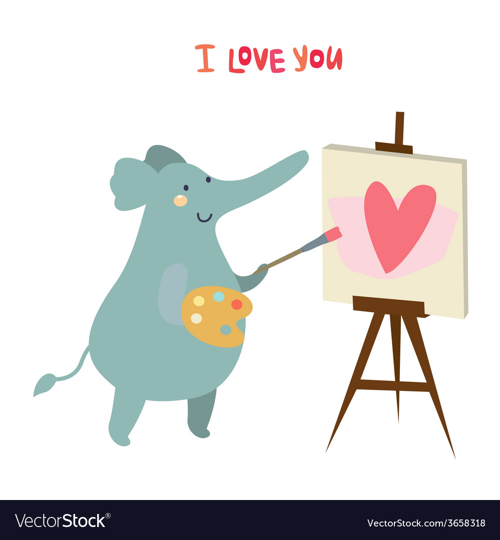 Elephant artist character vector | Price: 1 Credit (USD $1)