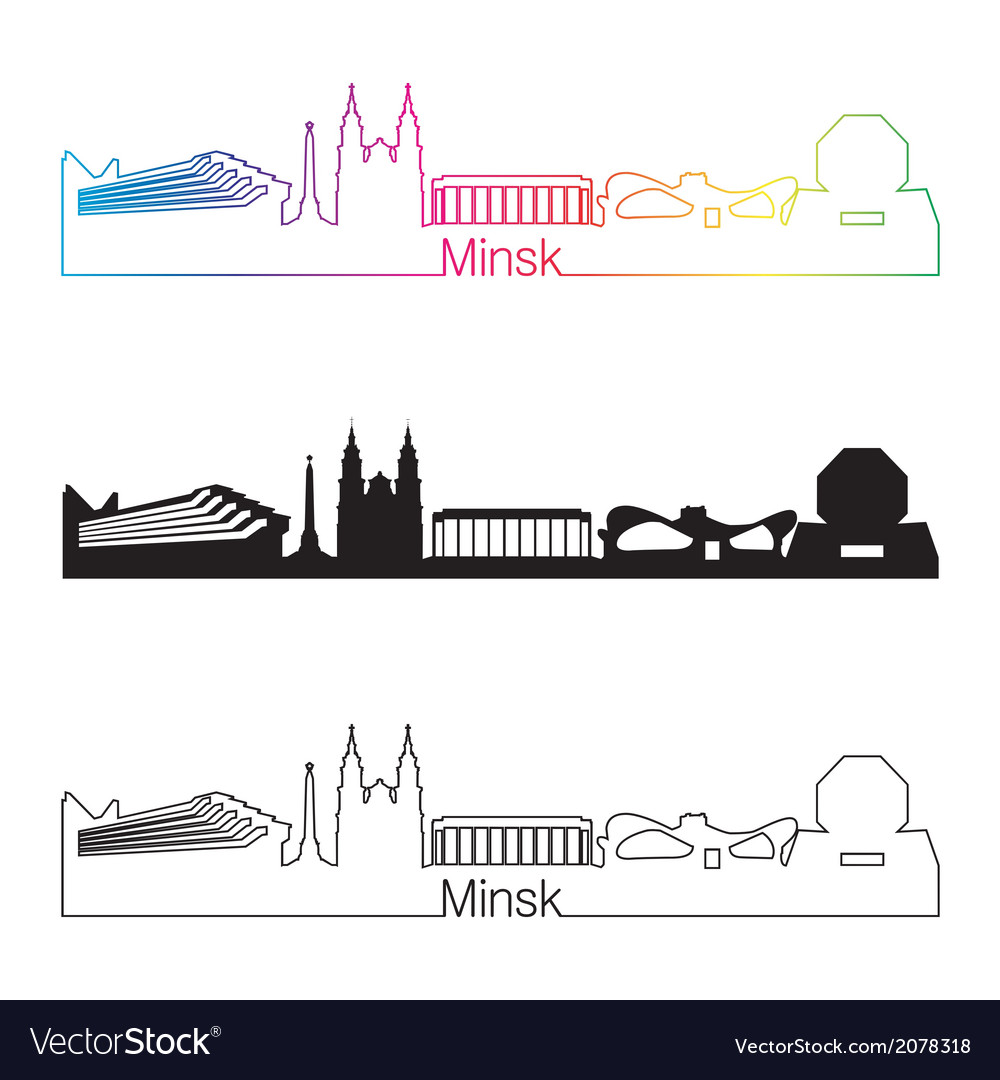 Minsk skyline linear style with rainbow vector | Price: 1 Credit (USD $1)