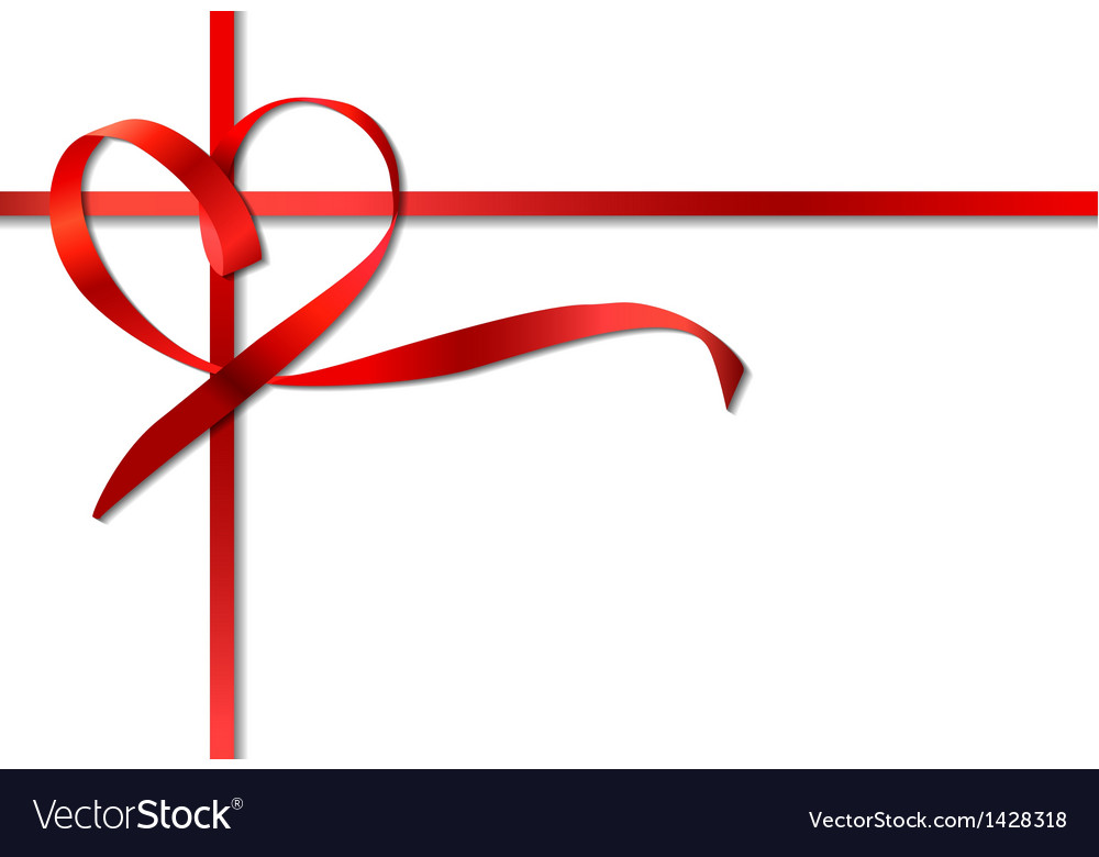 Red heart ribbon bow vector   Price: 1 Credit (USD $1)