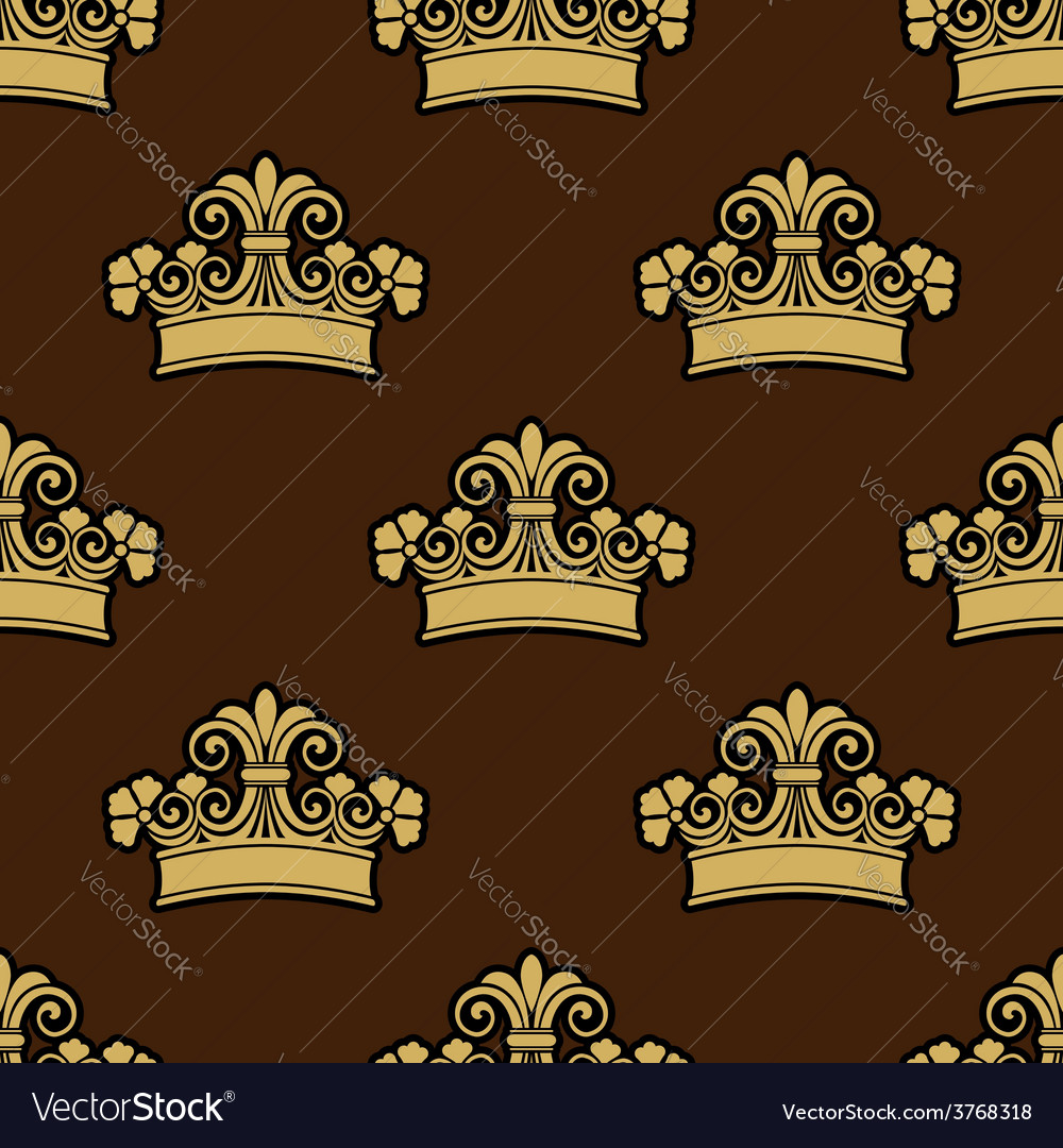 Seamless background pattern of a heraldic crowns vector | Price: 1 Credit (USD $1)