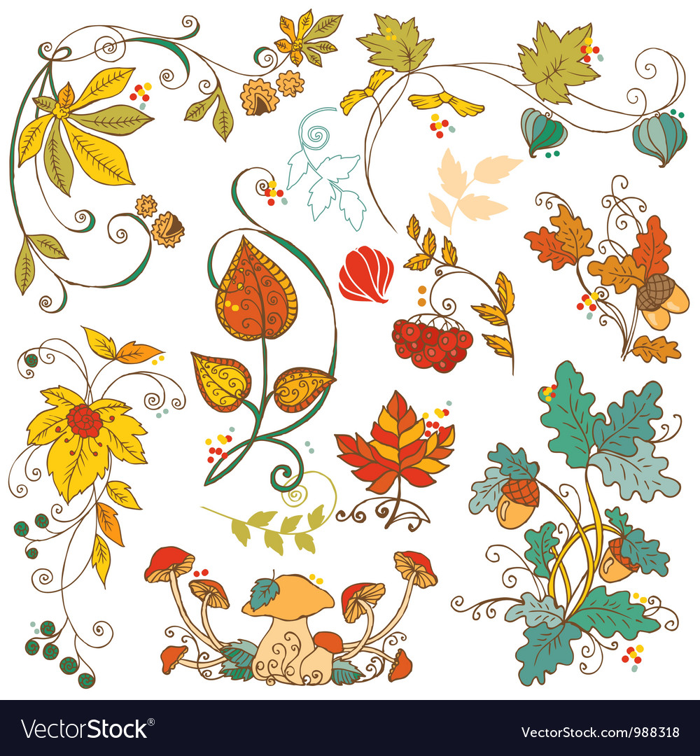 Set of decorative autumn branches leaves vector | Price: 1 Credit (USD $1)
