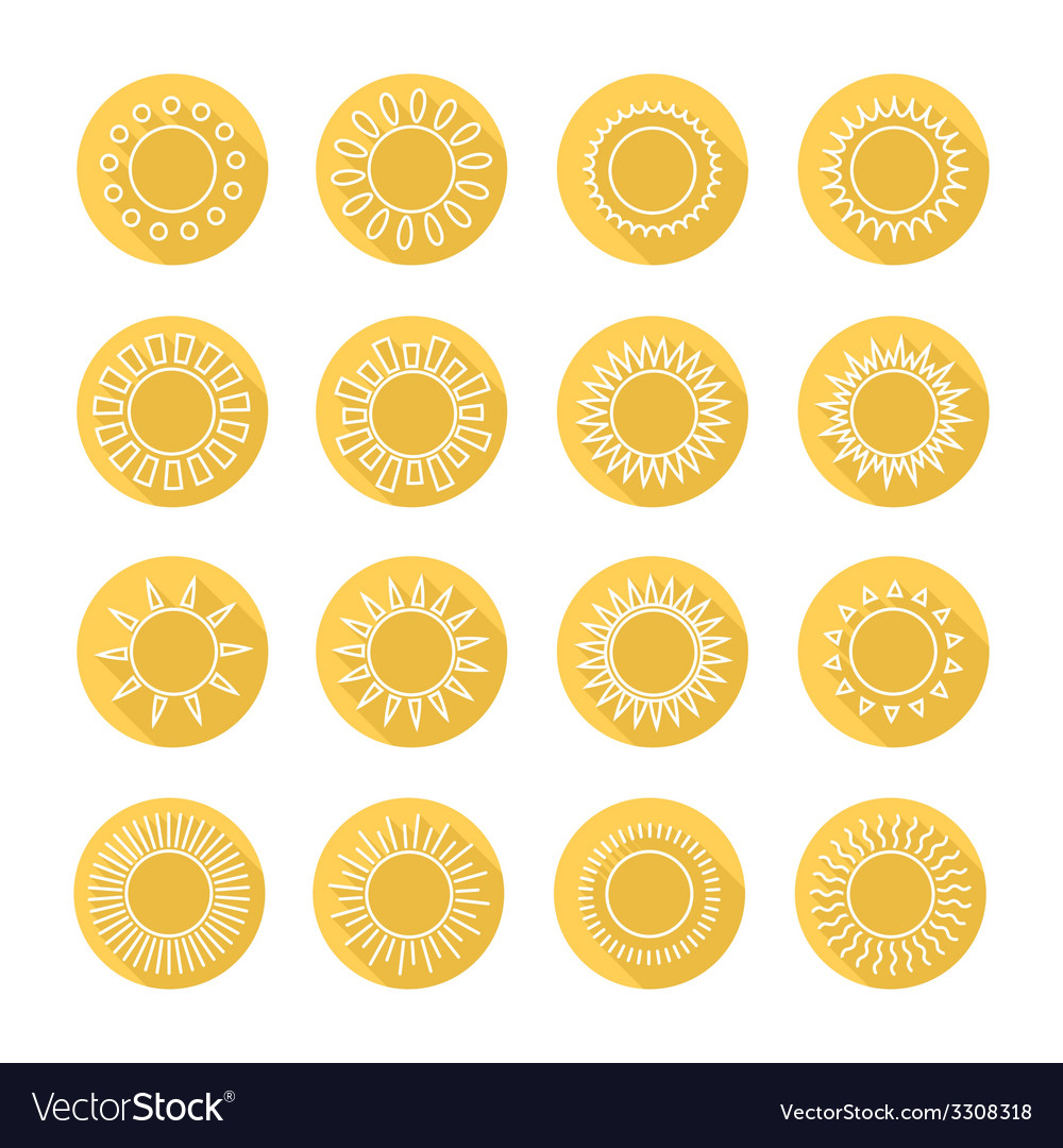 Set of sun web iconssymbolsign in flat style suns vector | Price: 1 Credit (USD $1)