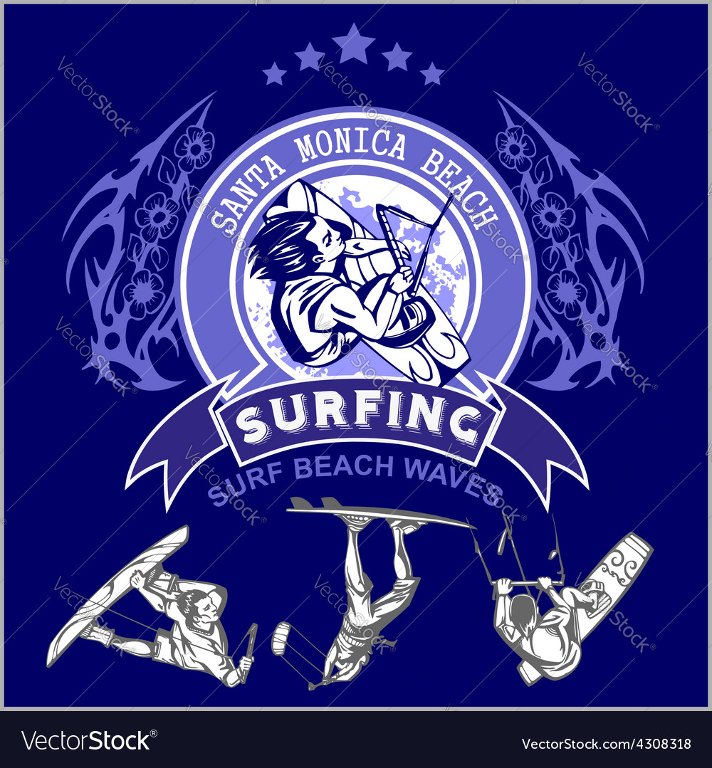 Surfing - label and surfers vector | Price: 3 Credit (USD $3)
