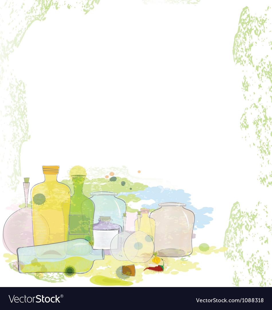 Water color jars copy space vector | Price: 1 Credit (USD $1)