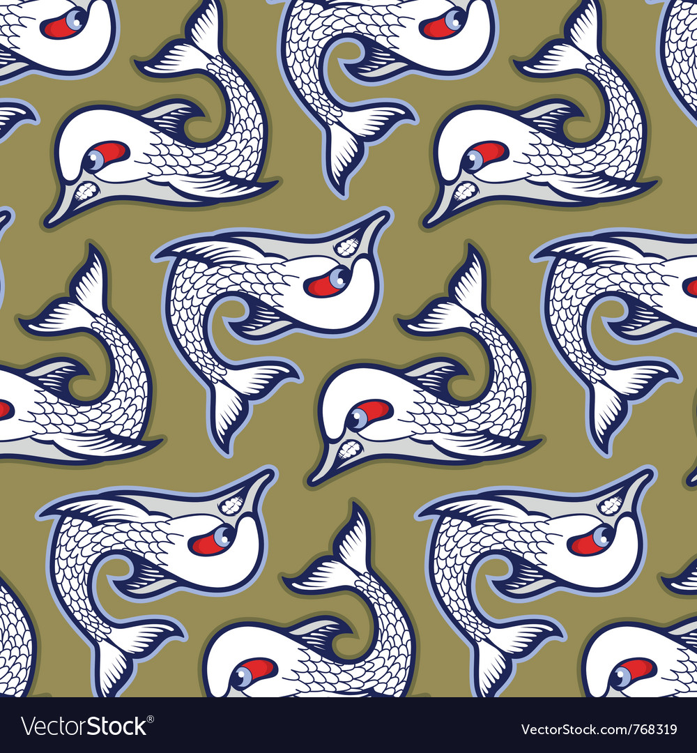 Cartoon evil fish background pattern vector | Price: 1 Credit (USD $1)