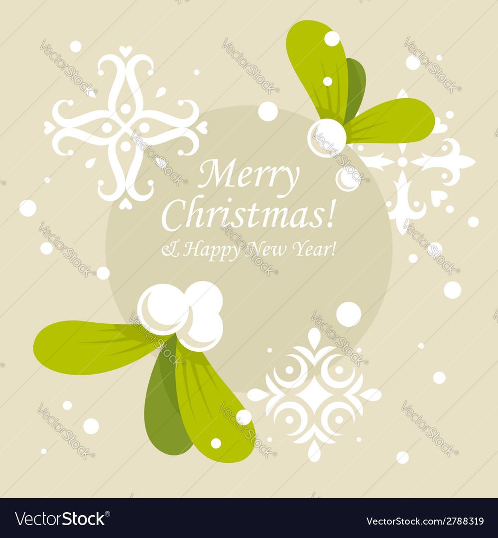 Christmas mistletoe card vector | Price: 1 Credit (USD $1)