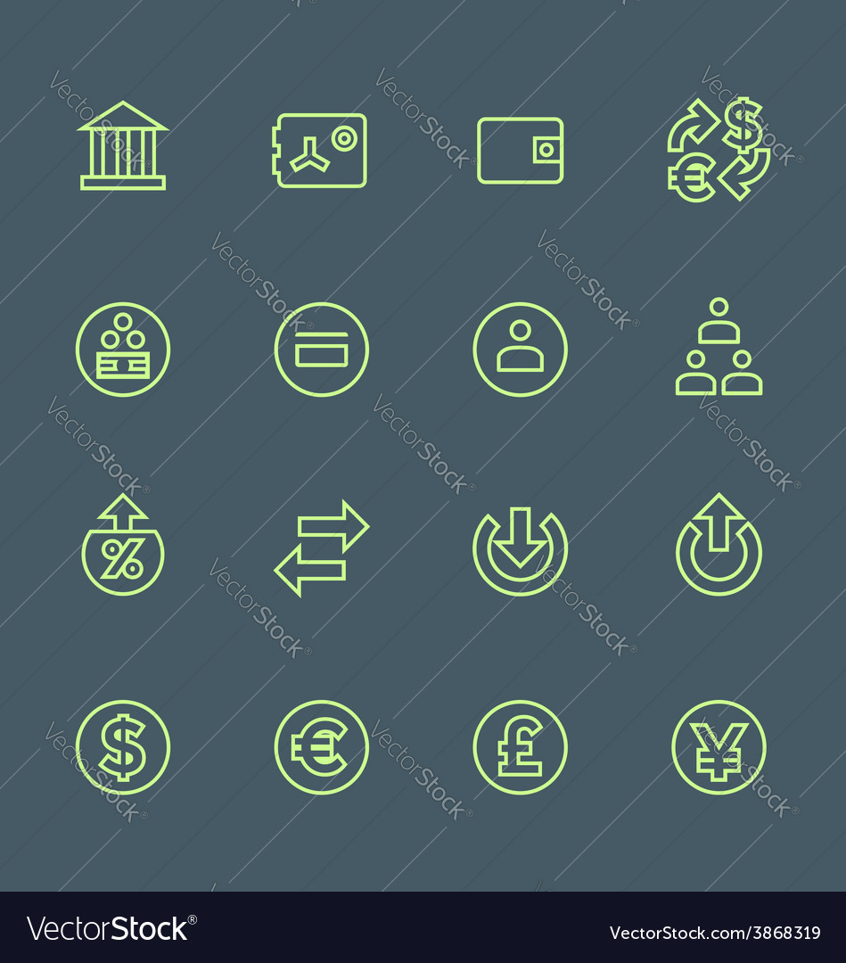 Green outline various financial banking icons set vector | Price: 1 Credit (USD $1)