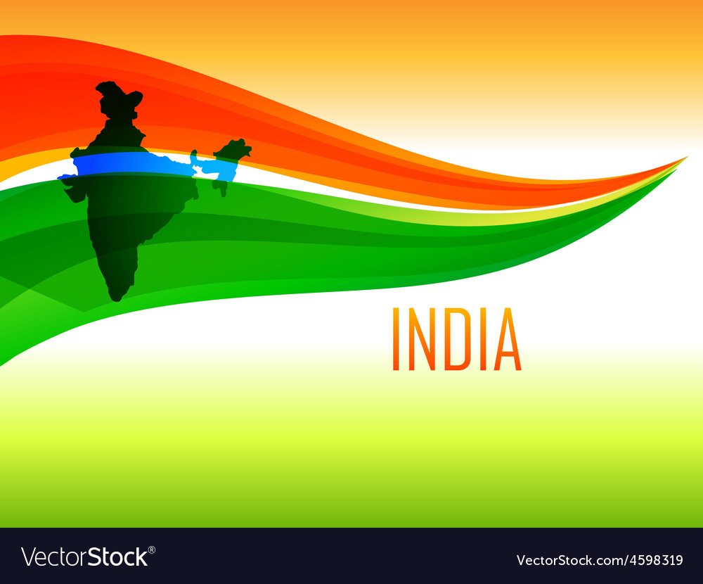 Indian flag design in wave style vector | Price: 1 Credit (USD $1)