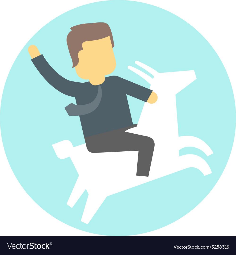 Man in tie on goat vector