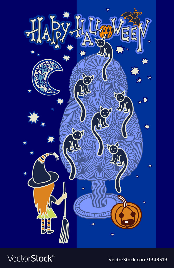 Original doodle artistic halloween card vector | Price: 1 Credit (USD $1)