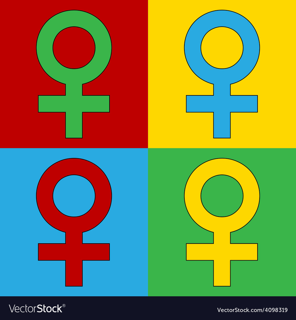 Pop art gender female icons vector | Price: 1 Credit (USD $1)