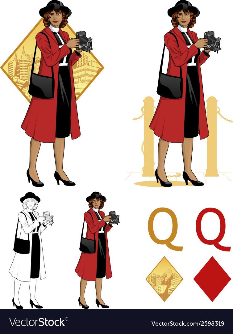 Queen of diamonds afroamerican woman photographer vector | Price: 3 Credit (USD $3)