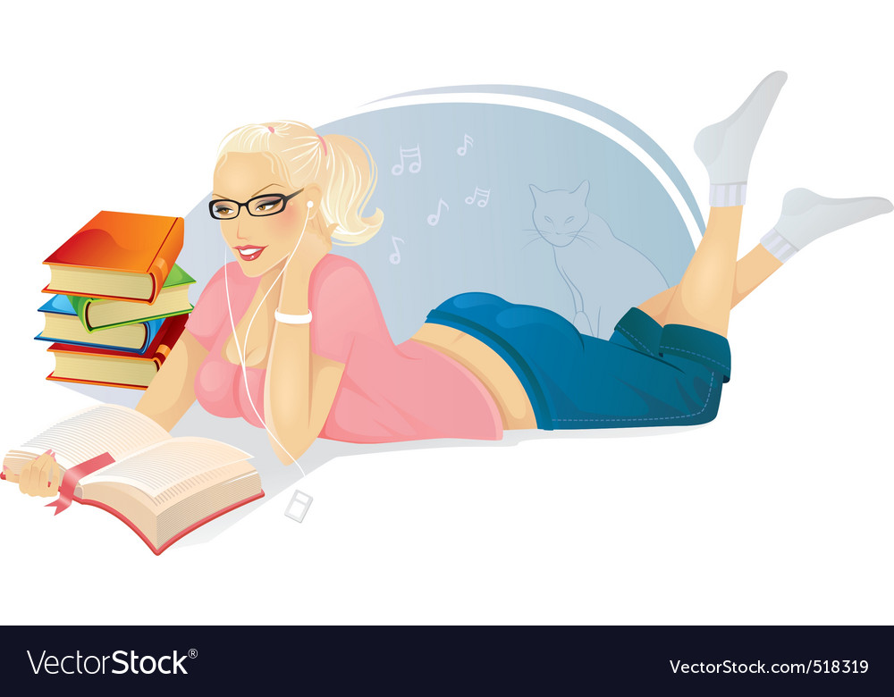 Reading woman vector | Price: 3 Credit (USD $3)