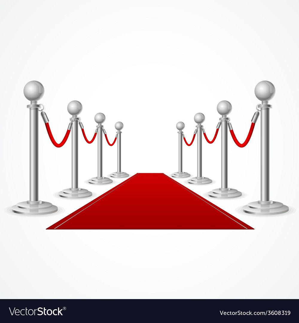 Red event carpet isolated on white vector | Price: 1 Credit (USD $1)