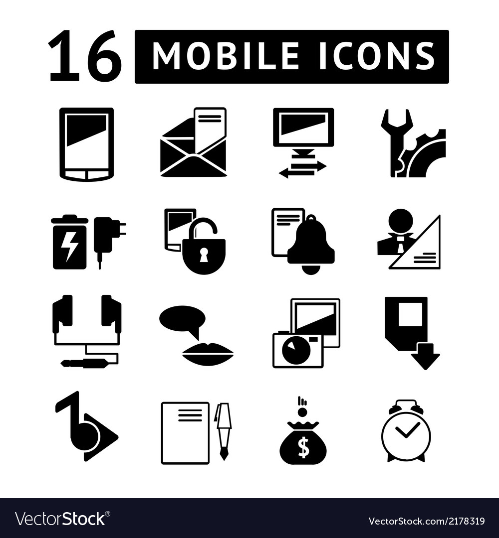Set of mobile icons vector | Price: 1 Credit (USD $1)