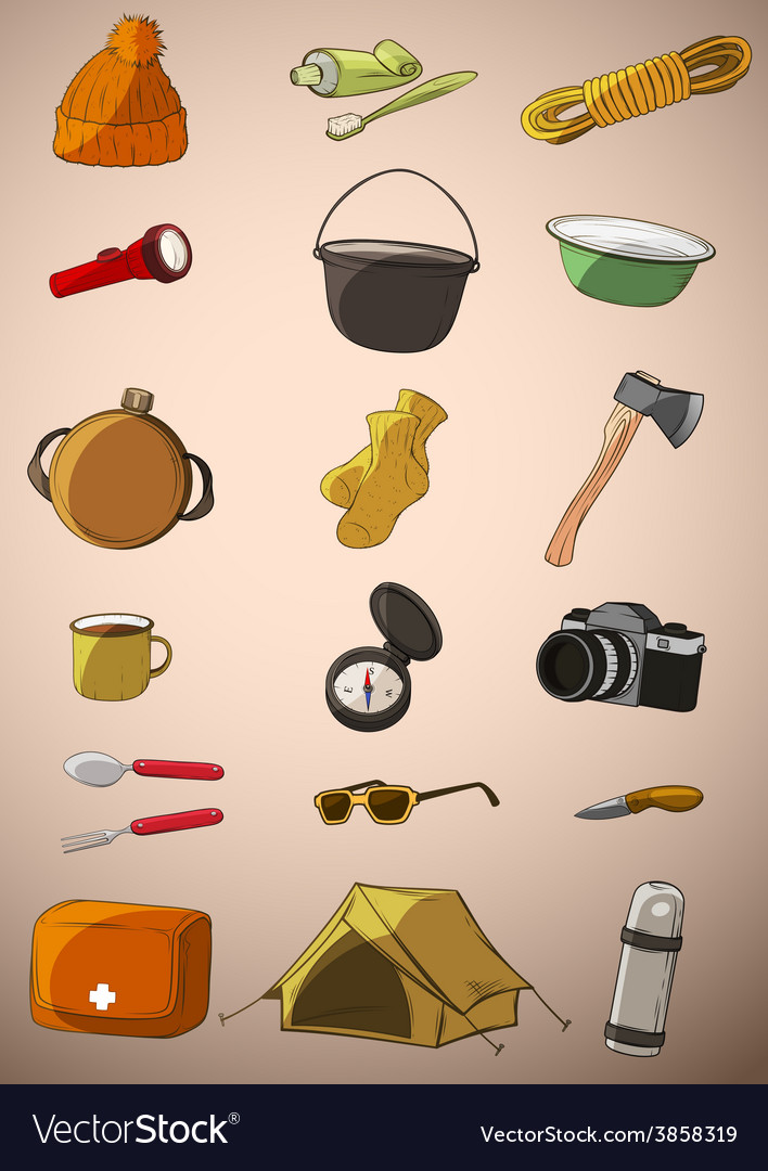 Set of twenty things travel vector | Price: 1 Credit (USD $1)