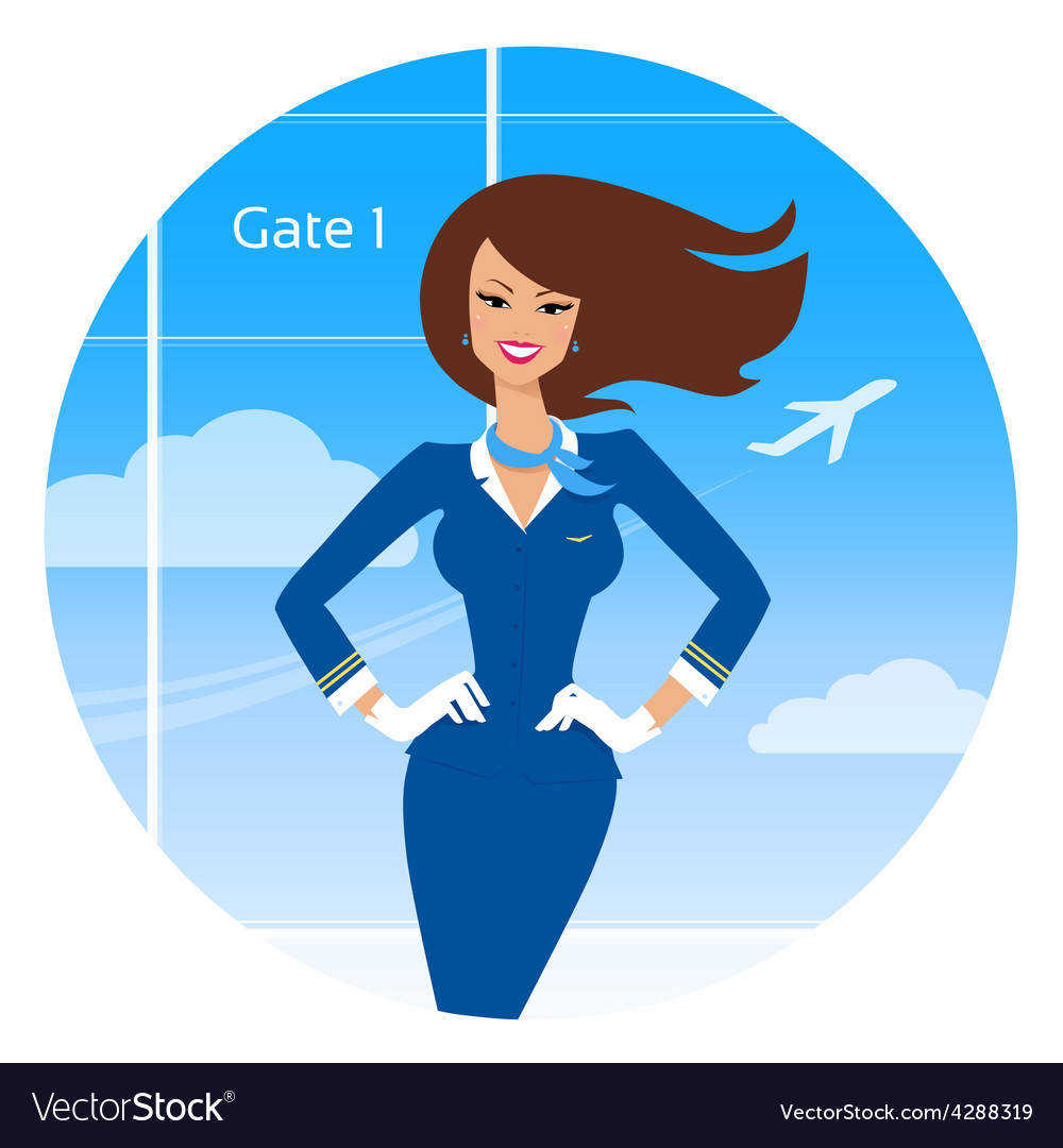 Smiling stewardess vector | Price: 1 Credit (USD $1)