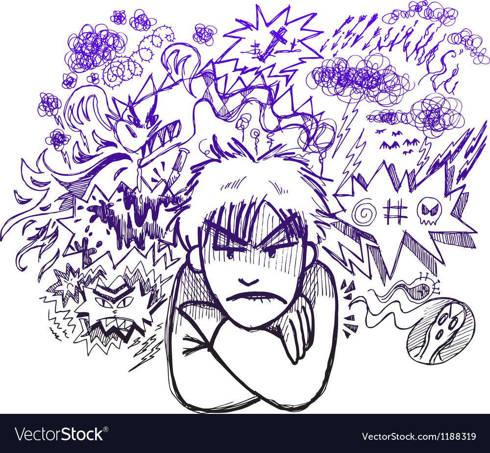 Very angry man doodle sketch vector | Price: 1 Credit (USD $1)