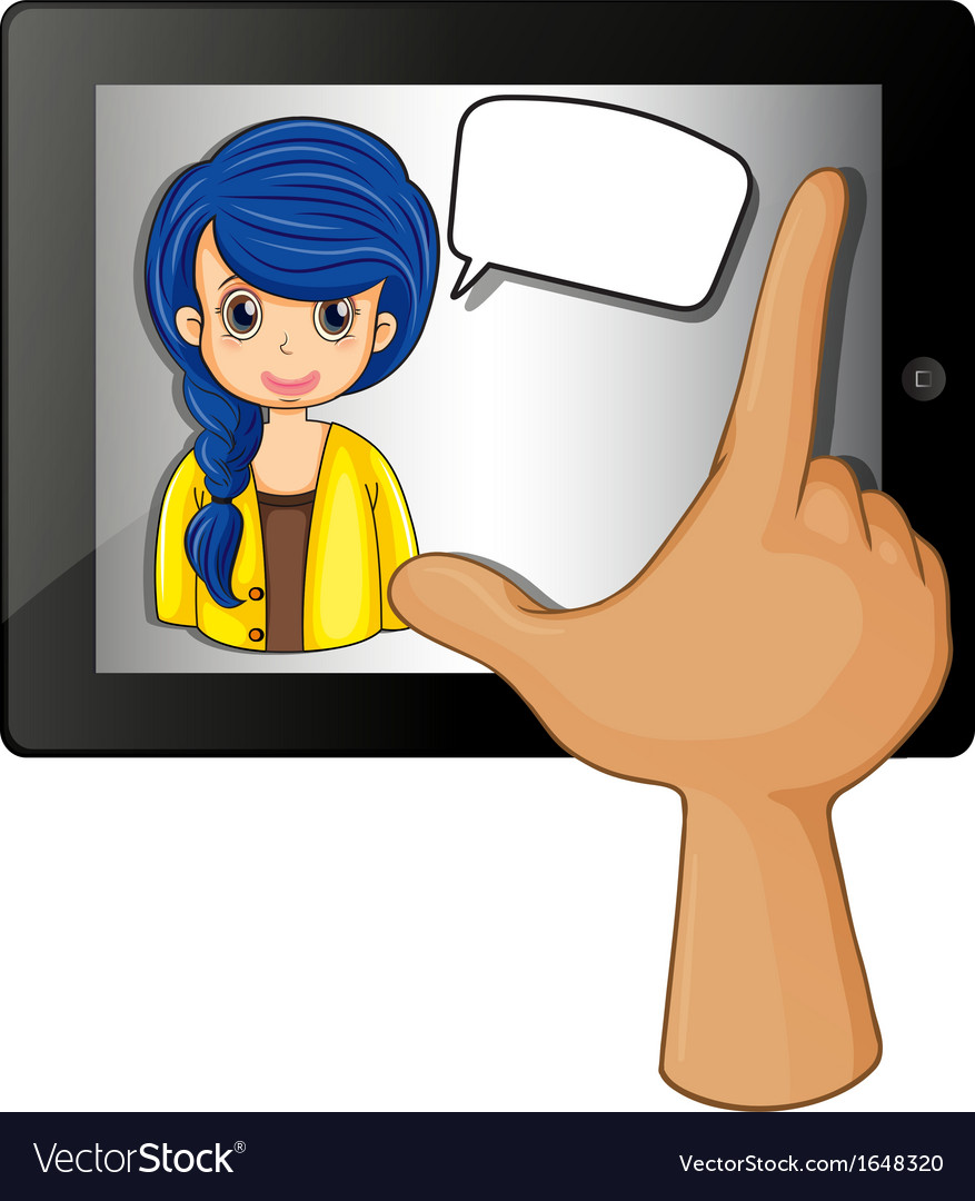 A finger touching the gadget with a woman having vector | Price: 1 Credit (USD $1)