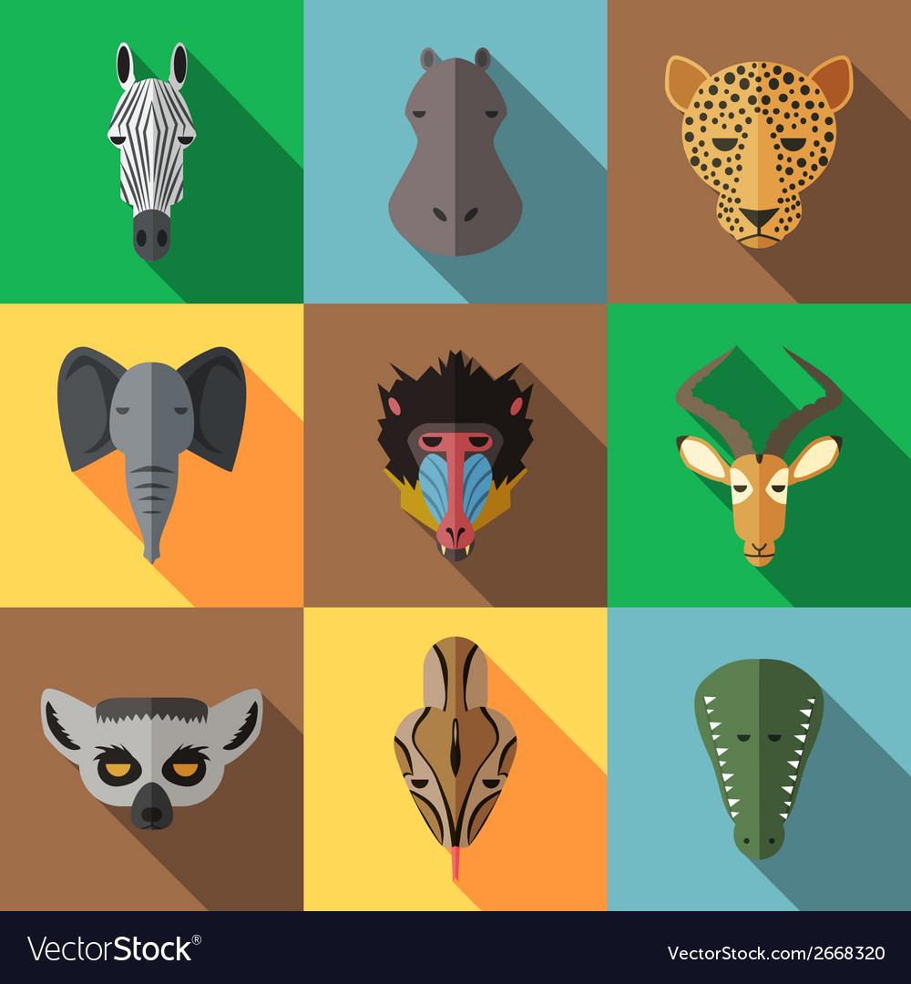 Animal portrait set with flat design vector | Price: 1 Credit (USD $1)