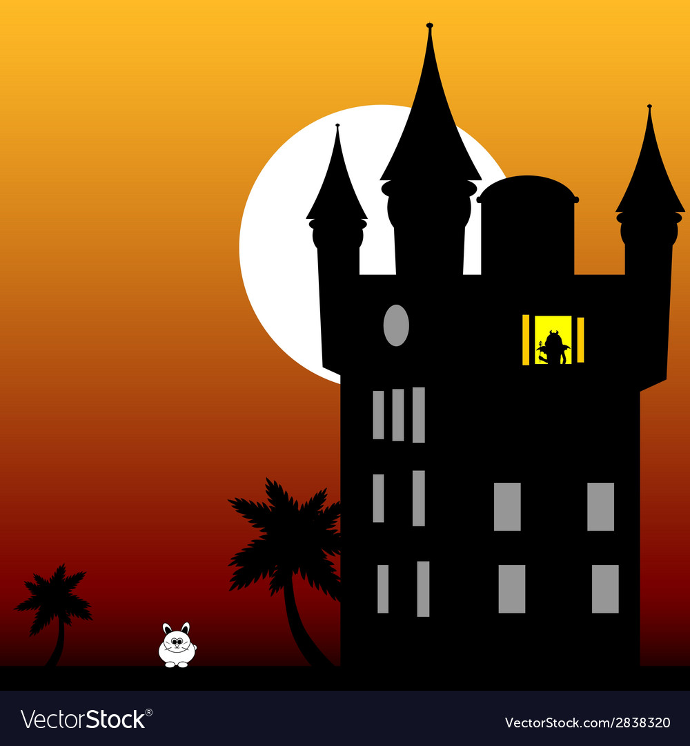 Castle in the twilight with white rabbit vector | Price: 1 Credit (USD $1)