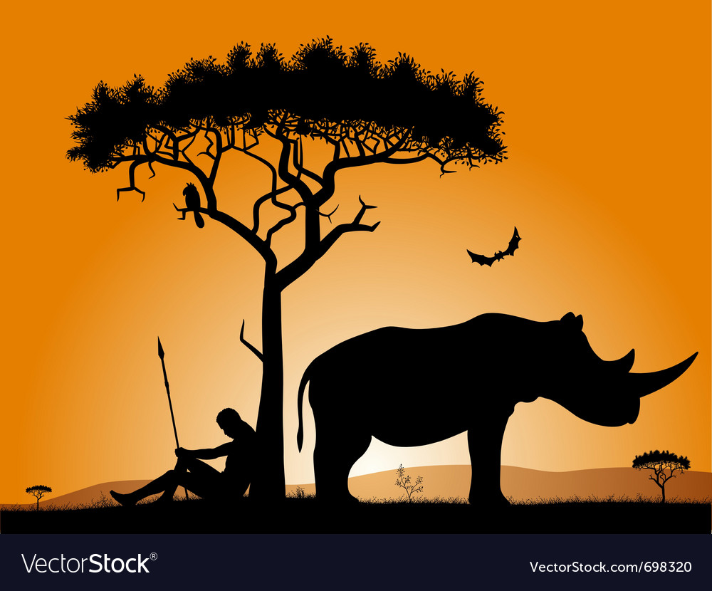 Dawn in africa vector | Price: 1 Credit (USD $1)