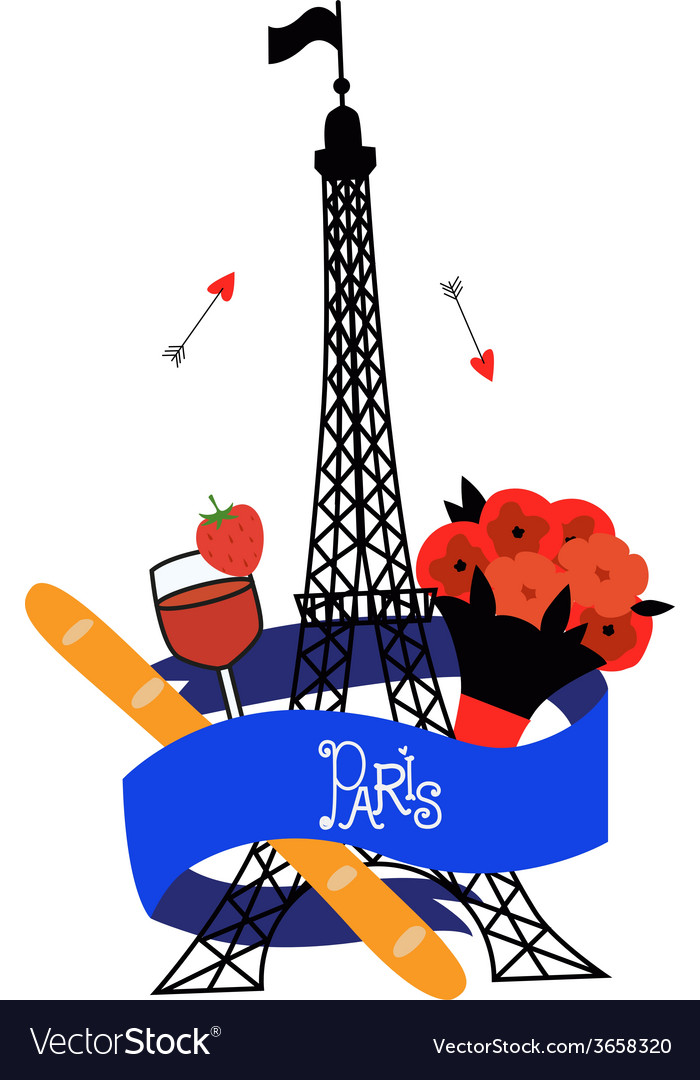 Emblem with eiffel tower vector | Price: 1 Credit (USD $1)