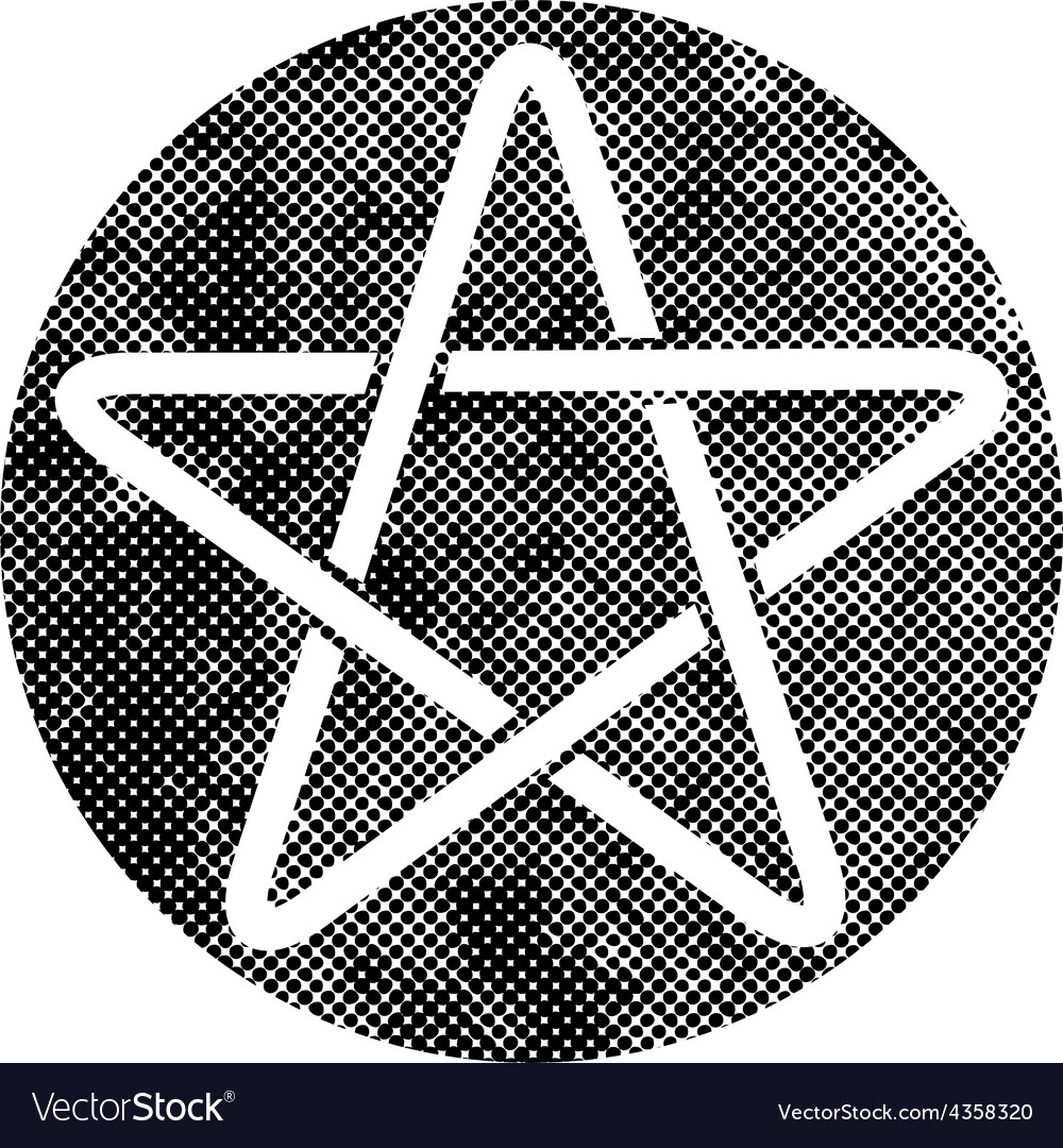 Five point star icon with pixel print halftone vector | Price: 1 Credit (USD $1)