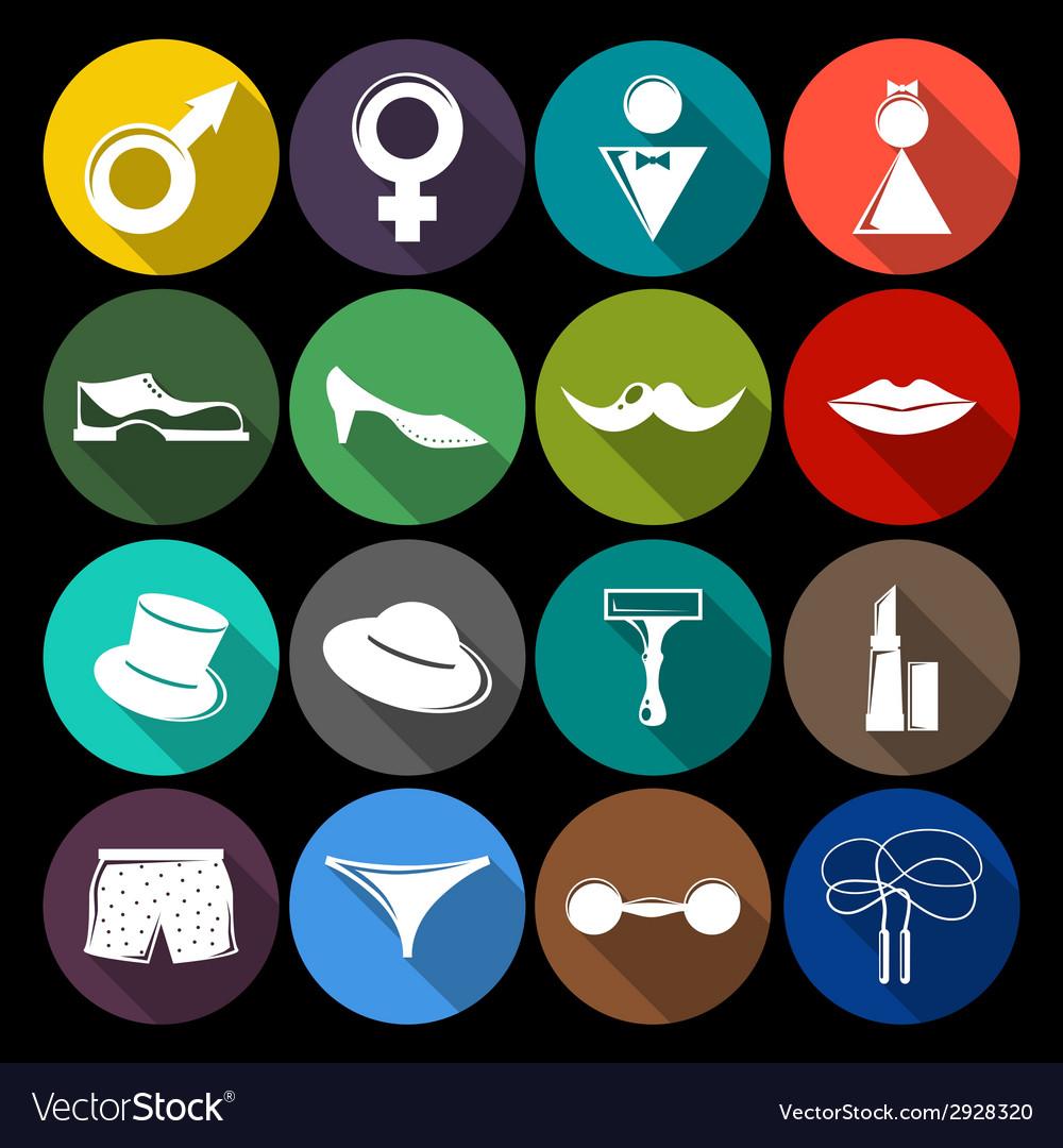 Gender icons set flat vector | Price: 1 Credit (USD $1)