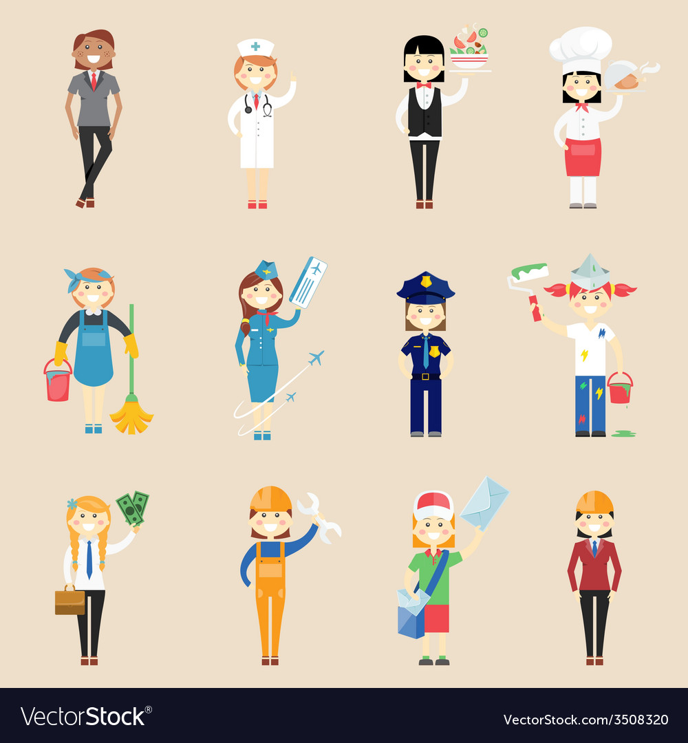 Girl characters in professional clothing vector | Price: 1 Credit (USD $1)