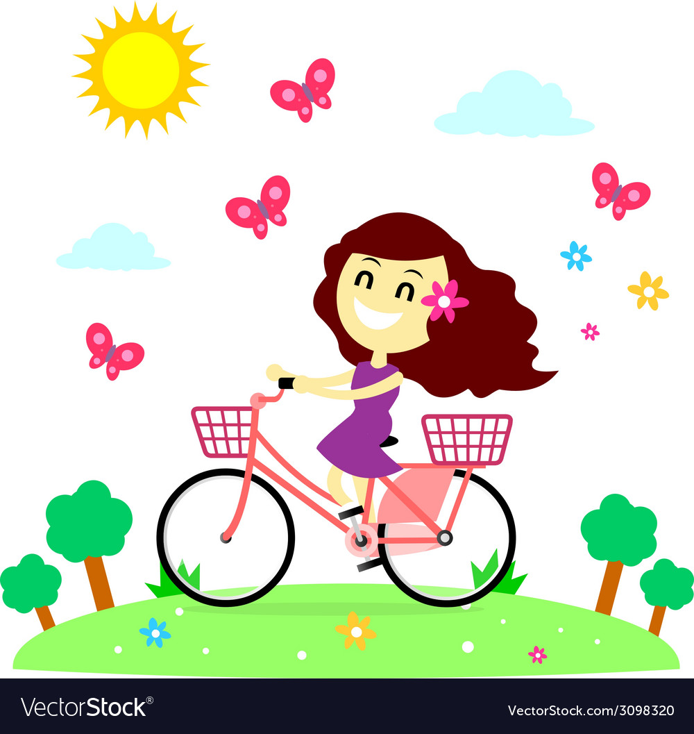 Girl enjoy riding bicycle with the butterflies vector | Price: 1 Credit (USD $1)
