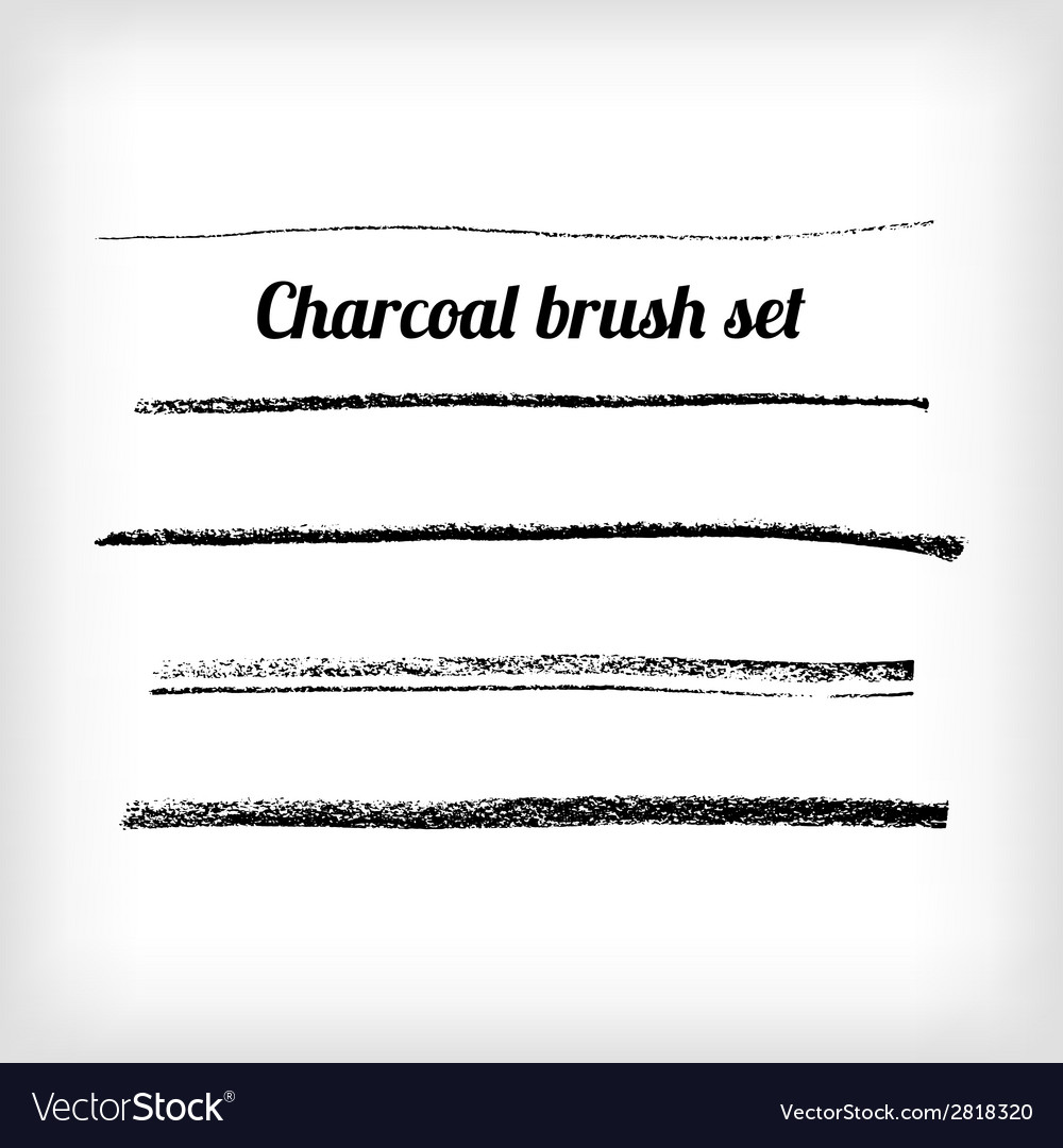 Hand drawn charcoal brush set scalable grunge vector | Price: 1 Credit (USD $1)