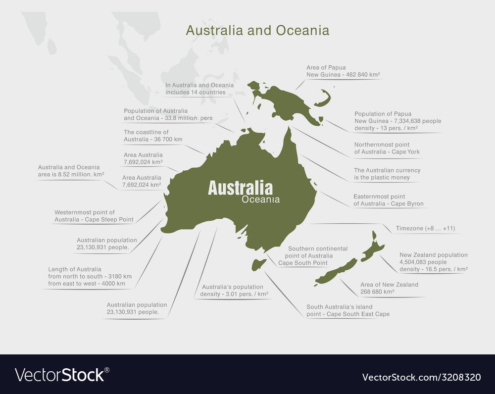 Infographics continent australia and oceania green vector | Price: 1 Credit (USD $1)