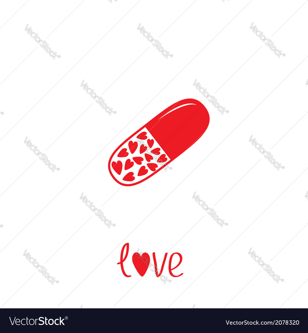 Medical pill with hearts inside love card vector | Price: 1 Credit (USD $1)