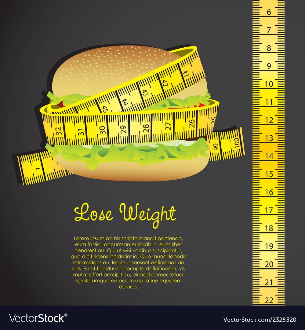 Meter around the hamburger over black background vector | Price: 1 Credit (USD $1)