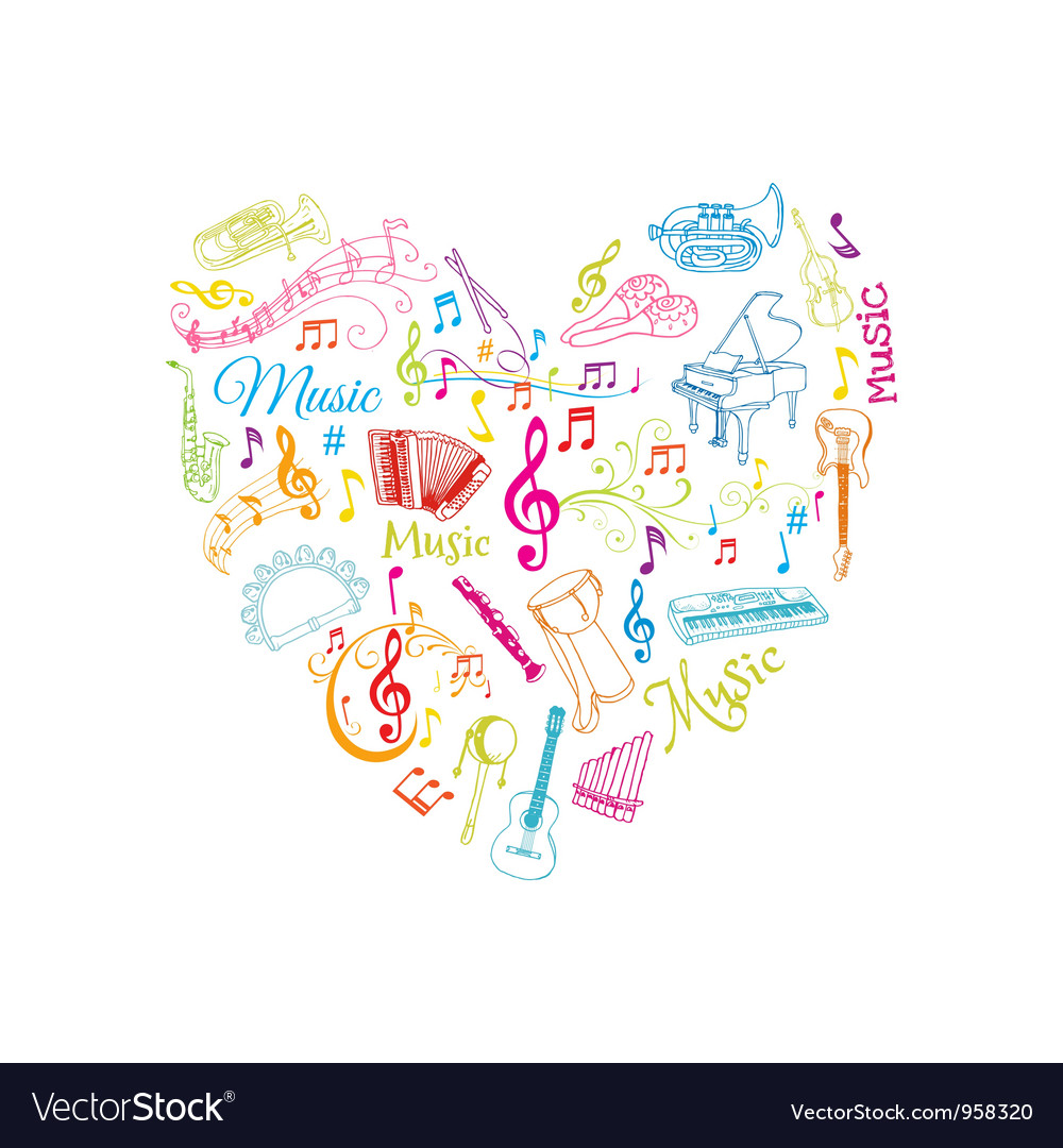 Musical notes and instruments vector | Price: 1 Credit (USD $1)