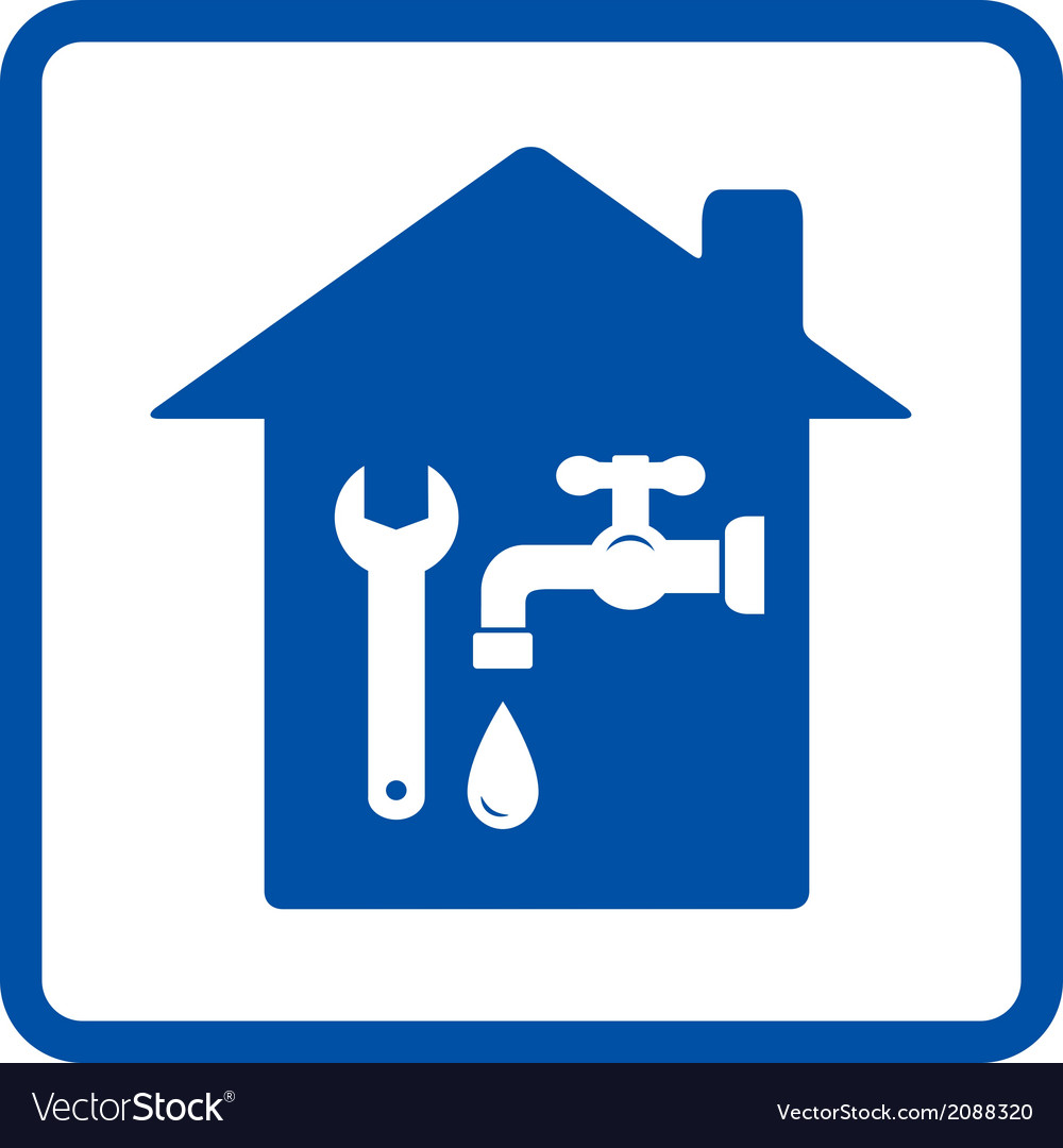 Plumbing sign with house vector | Price: 1 Credit (USD $1)