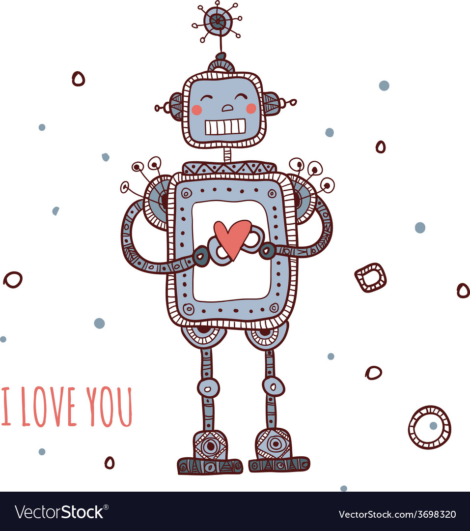 Robot with heart i love you vector | Price: 1 Credit (USD $1)
