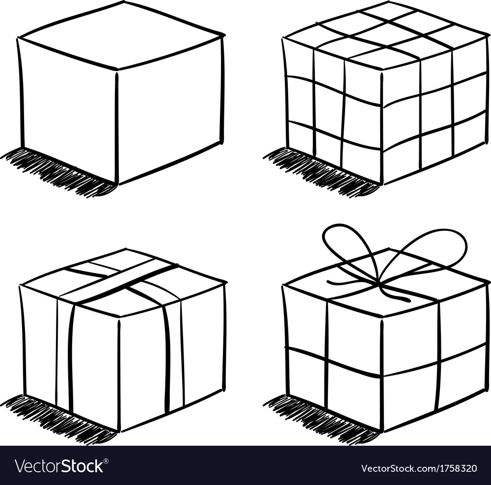 Set of the sketched boxes vector | Price: 1 Credit (USD $1)