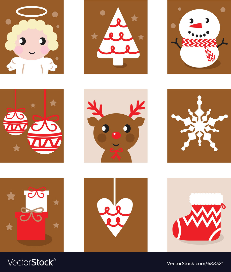 Christmas characters icons vector | Price: 1 Credit (USD $1)