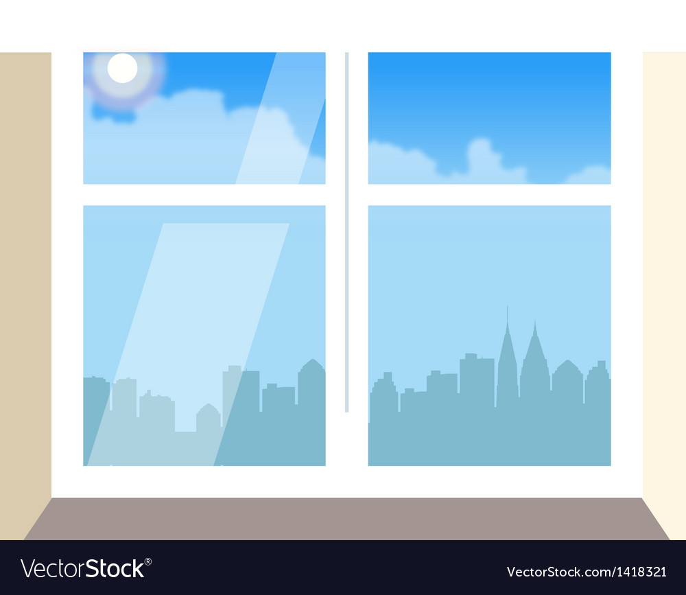 Cityscape window view vector | Price: 1 Credit (USD $1)