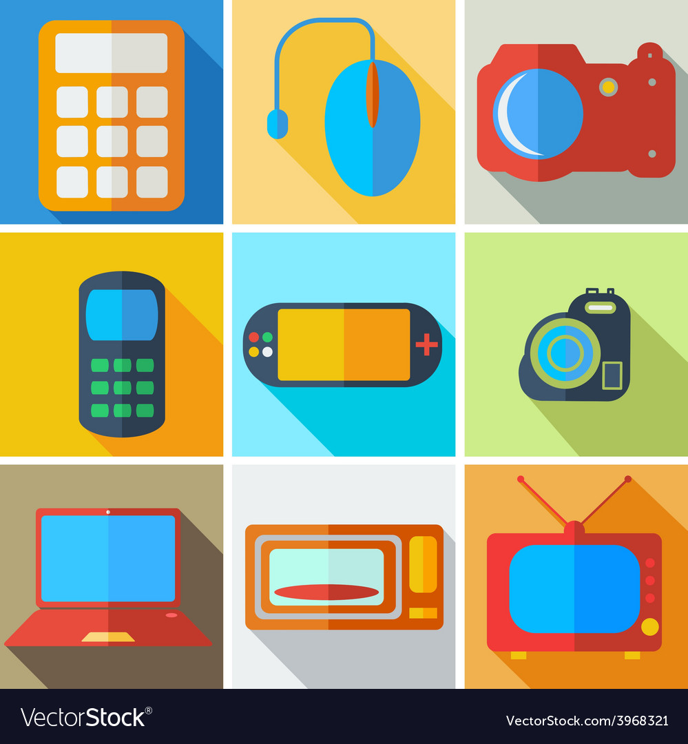 Collection modern flat icons computer technology vector | Price: 1 Credit (USD $1)