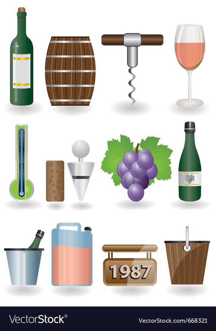 Drink and wine icons vector | Price: 1 Credit (USD $1)