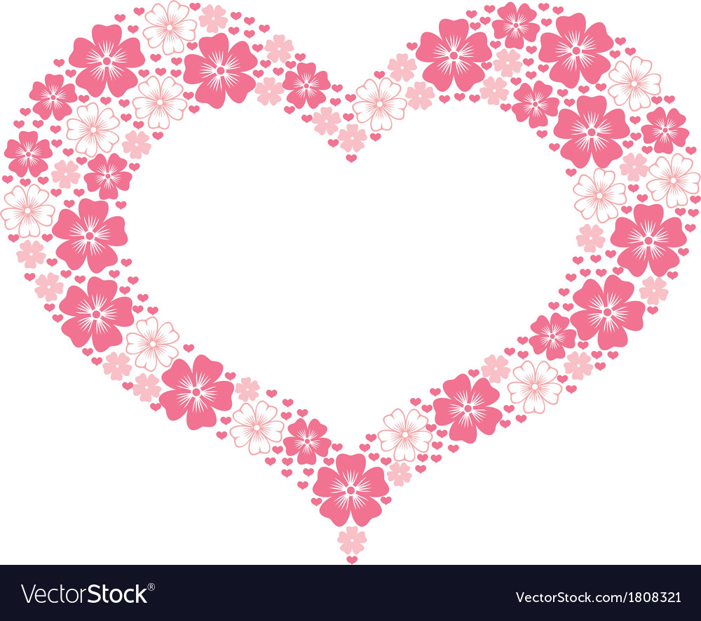 Flower heart form vector