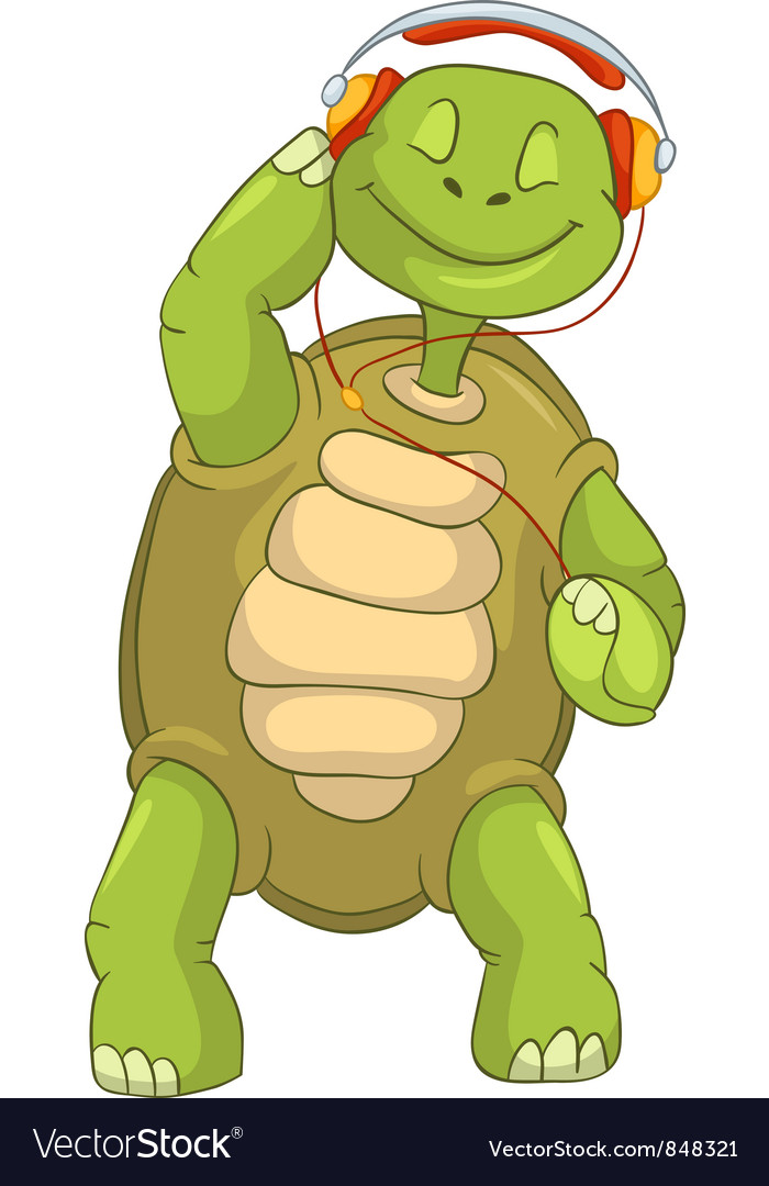 Funny turtle listening to music vector | Price: 3 Credit (USD $3)